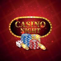 Casino gambling game with gold coin, chips and dice on red background vector