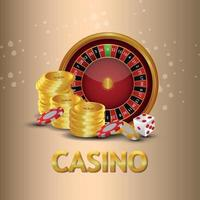 Golden text effect of casino gambling game with gold coin, roulette wheel and casino chips vector