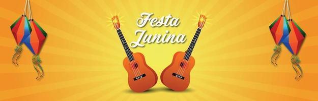 Brazilian festival of festa junina invitation  banner with creative guitar vector
