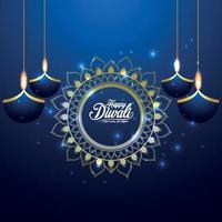 Happy diwali invitation greeting card with vector illustration on blue background