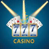Vector slot machine of casino gambling game with playing card and gold coin
