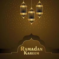 Ramadan kareem creative islamic festival with holy book kuran and arabic lantern vector