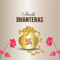 Fondo de venta de Dhanteras con bote de monedas y diya. vector