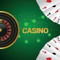 Casino gambling game with roulette wheel, playing card on creative background vector