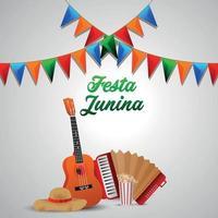 Festa junina evento brasileño con sombrero y colorida bandera de fiesta. vector