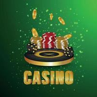 Creative casino roulette wheel, casino poker chips and gold coin vector
