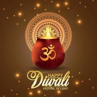Happy diwali creative vector illustration with creative glowing pot