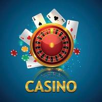 Casino online gambling game with roulette wheel and playing cards, casino chips vector