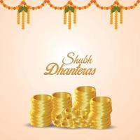 Tarjeta de felicitación de invitación shubh dhanteras con moneda de oro sobre fondo blanco. vector