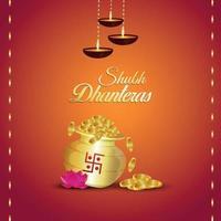 Tarjeta de felicitación de invitación shubh dhanteras con ilustración vectorial creativa de olla de monedas de oro vector