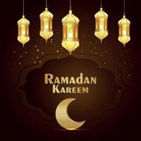 Tarjeta de felicitación de celebración de Ramadán Kareem con linterna dorada y luna. vector