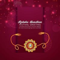 Tarjeta de felicitación de celebración del festival indio raksha bandhan con rakhi vector