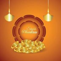 Indian festival of happy dhanteras invitation greeting  with gold coin vector