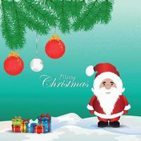 Fondo de feliz navidad con ilustración de vector creativo de santa clous