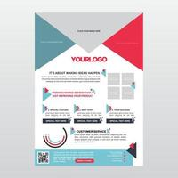 Modern Light Blue and Red Business Brochure Layout vector