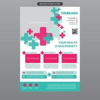 Light Green and Pink Medical Clinic Brochure vector