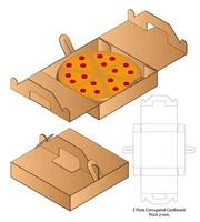 pizza box corrugated package die cut with mock up vector