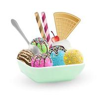 set of an ice cream on a dish vector