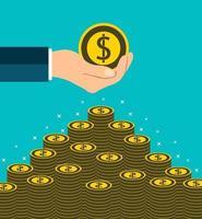 concepto de moneda de dólar mano sosteniendo obtener monedas a mano. poner dinero escaleras ilustrador vectorial. vector