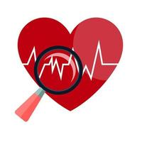 Heart beat line on hand icon on white background vector