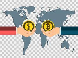 Concepto de moneda empresarial.Cambie monedas de dólar a bitcoin de mano a mano en el mapa de fondo del mundo, fondo transparente.ilustrador vectorial. vector