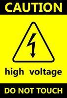 señales de peligro de alto voltaje un icono negro con una silueta plana en un rectángulo de fondo amarillo. vector