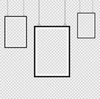 Establecer marco de imagen negro realista sobre fondo transparente ilustrador vectorial. vector