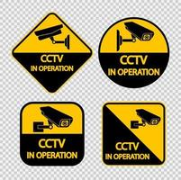 Set CCTV Camera label.Black Video surveillance sign on transparent background.vector illustration vector