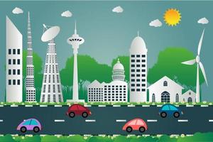 Building cityscape of the city beautiful and car is run on road paper art style,vector illustration vector