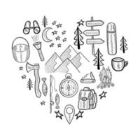 camping heart doodle set vector