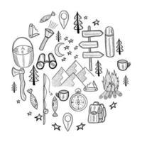 camping circle doodle set vector