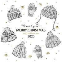 We Wish You A Merry Christmas written with elegant font and decorated by knitted woolens hat and snowflakes gold. Vector illustration for festive greeting card.