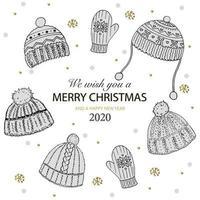 les deseamos una feliz navidad escrito con elegante tipografía y decorado con gorro de lana de punto y copos de nieve dorados. ilustración vectorial para la tarjeta de felicitación festiva. vector