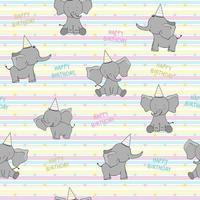 Seamless cute cartoon elephants on yellow background. Nice print for happy birthday kids. vector