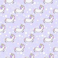 Seamless pattern with cute unicorns and stars stars. Magic endless background with little unicorns. Ideal for textile, wrapping, wallpaper. vector
