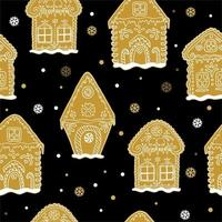 Seamless pattern with gingerbread house. Vector hand drawn gingerbread houses with snowflakes.