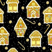 Christmas gingerbread seamless pattern with gingerbread houses on black background. vector