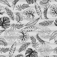 Tropical palm trees and banana leaves. Abstract background seamless pattern. Black and white on strips phon. vector