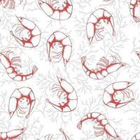 dibujado a mano mariscos de patrones sin fisuras. gambas estilo boceto de fondo de camarones. ilustración vectorial. vector