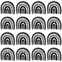 Boho rainbow black and white seamless pattern vector