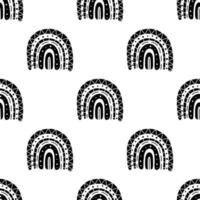 Boho rainbow black and white pattern vector