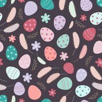 Decorated Easter eggs seamless pattern. Easter background. Design for textiles, packaging, wrappers, greeting cards, paper, printing. Vector illustration