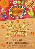 happy thanksgiving celebration party invitation poster with food and fruit vector