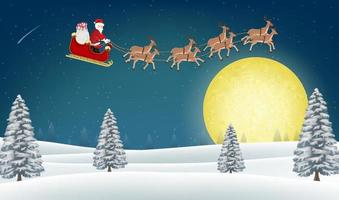 santa claus with reindeer flying over winter hill vector