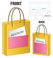 paper bag packaging die-cut and 3d bag mockup vector