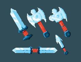 set of game ui blade sword design with pixel style vector
