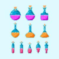 colorful potion magic bottle icon set vector