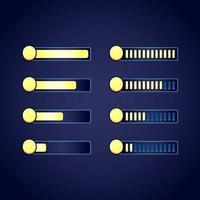 set of gui fantasy rpg currency coin progress bar set vector