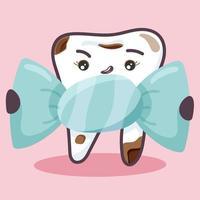 a un diente con caries le gustan los dulces. vector