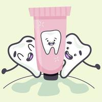 Lovely teeth enjoyed the toothpaste. Vector illustration in flat style